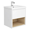 Haywood 500mm Gloss White / Natural Oak Wall Hung Vanity Unit with Open Shelf + Ceramic Basin profile small image view 1