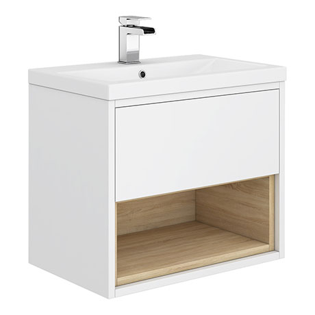 Haywood 600mm Gloss White / Natural Oak Wall Hung Vanity Unit with Open Shelf + Ceramic Basin
