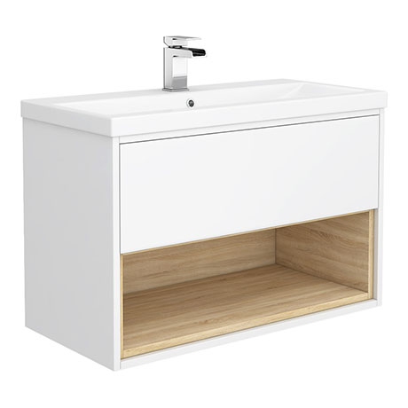 Haywood 800mm Gloss White / Natural Oak Wall Hung Vanity Unit with Open Shelf + Ceramic Basin