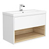 Haywood 800mm Gloss White / Natural Oak Wall Hung Vanity Unit with Open Shelf + Ceramic Basin profile small image view 1