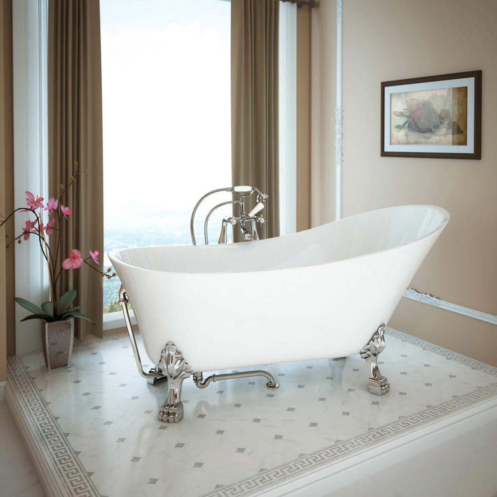 Harlow 1610 Slipper Bath + Chrome Lion Feet profile large image view 2