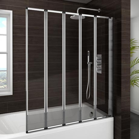 haro folding bath screen 5 fold concertina at designer sail glass bath shower screens ap9578s