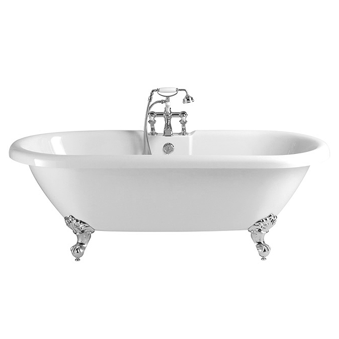 Heritage Baby Oban Double Ended Roll Top Bath with Feet (1495x795mm) profile large image view 1