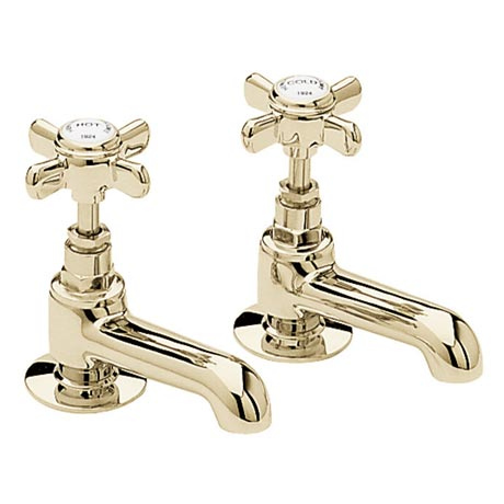 Heritage - Dawlish Basin Pillar Taps - Vintage Gold - TDCG00