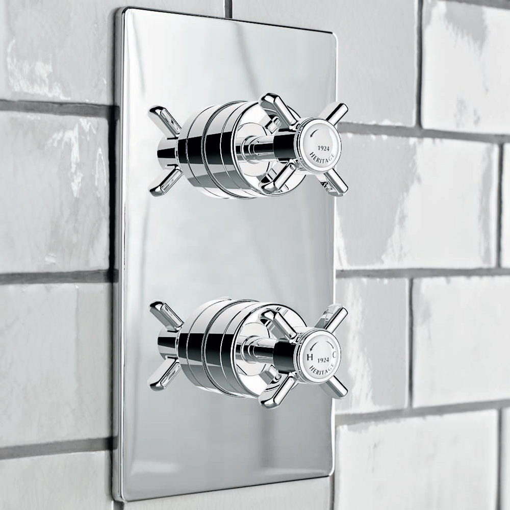 Heritage - Dawlish Dual Control Recessed Valve - Chrome - SDC04 profile large image view 2