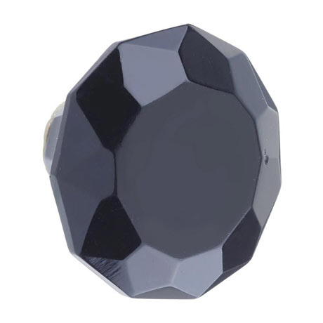 Heritage Glass Faceted Door Knob Black - FKNGL01