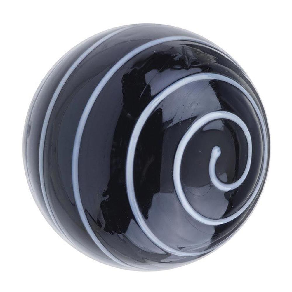 Heritage Glass Spiral Door Knob Black & White - FKNGL03