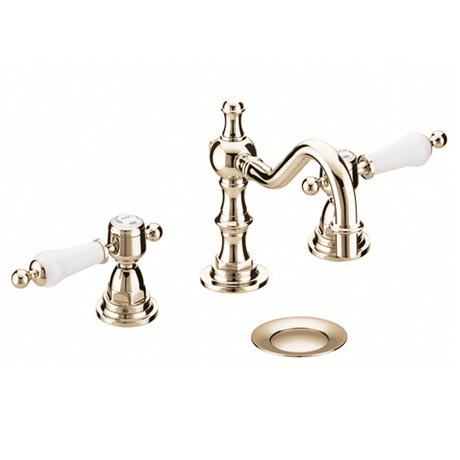 Heritage - Glastonbury 3 Hole Swivel Spout Basin Mixer with Pop-up Waste - Vintage Gold - TGRG09