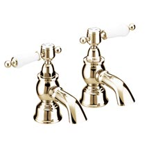 Heritage - Glastonbury Bath Pillar Taps - Vintage Gold - TGRG01 Medium Image
