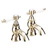 Heritage - Glastonbury Bath Pillar Taps - Vintage Gold - TGRG01 profile small image view 1