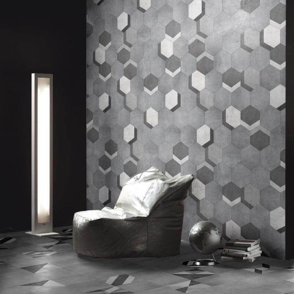 Vista Hexagon Grey Wall Tiles - 30 x 38cm  Standard Large Image