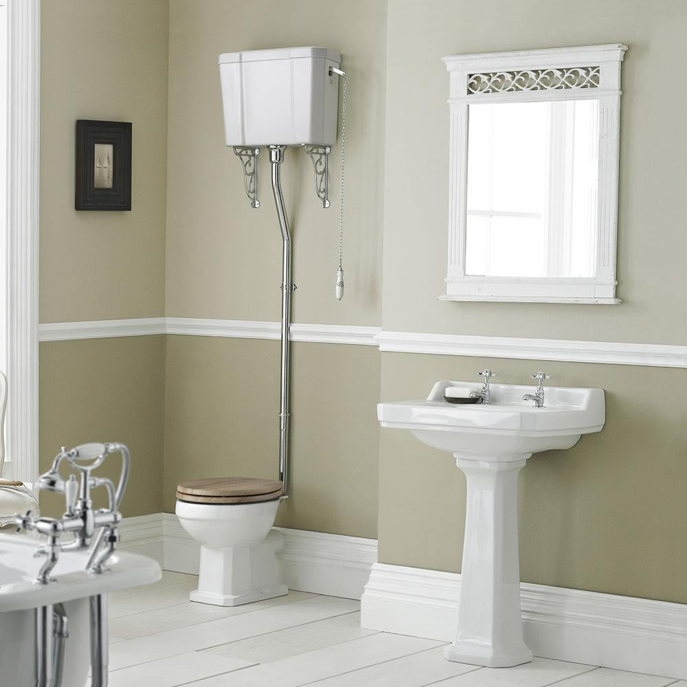 High Level Traditional WC Ceramic Cistern & Flush Pipe Kit profile large image view 4