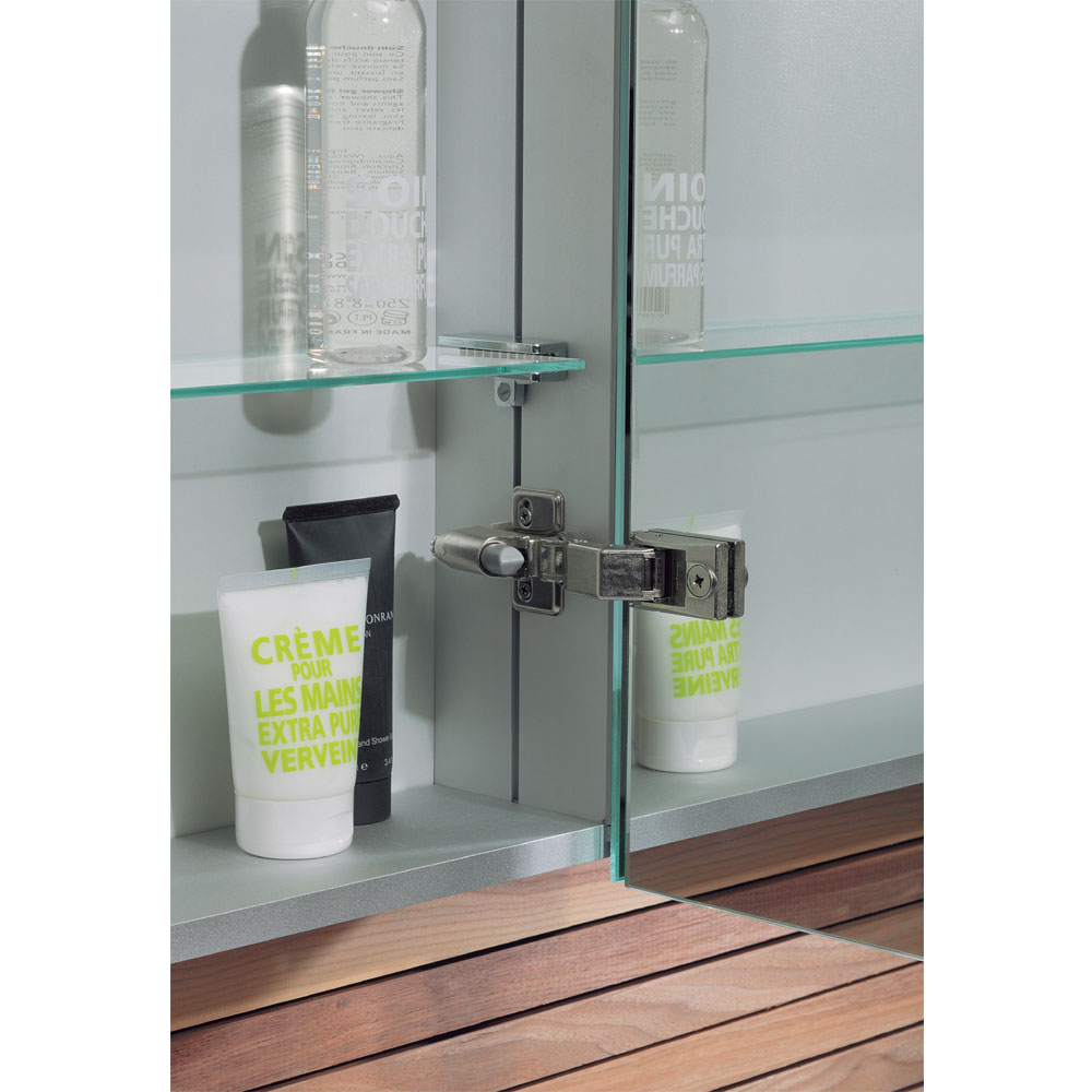 Bauhaus - 600mm Illuminated Aluminium Mirrored Cabinet with Shaving Socket - CB6080AL profile large image view 2