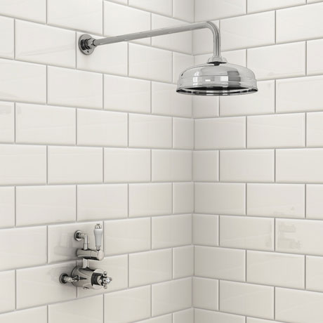 """Holburn Traditional Twin Thermostatic Shower Valve Inc. 8"""" Apron Fixed Head"""