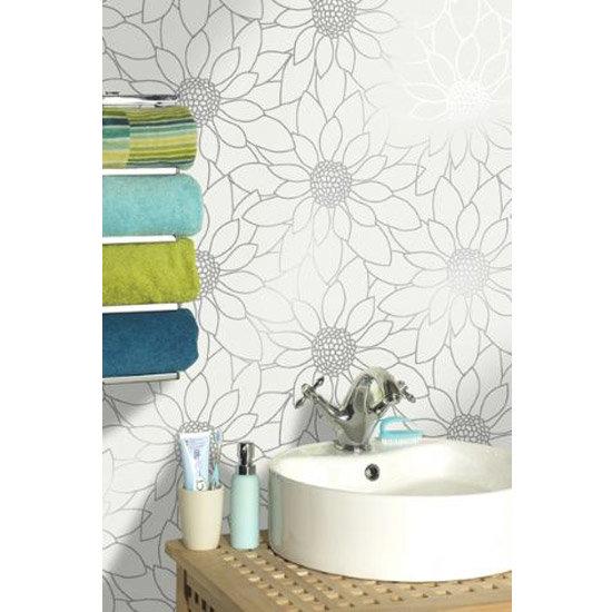 Holden Decor Louisa White Silver Bathroom Wallpaper