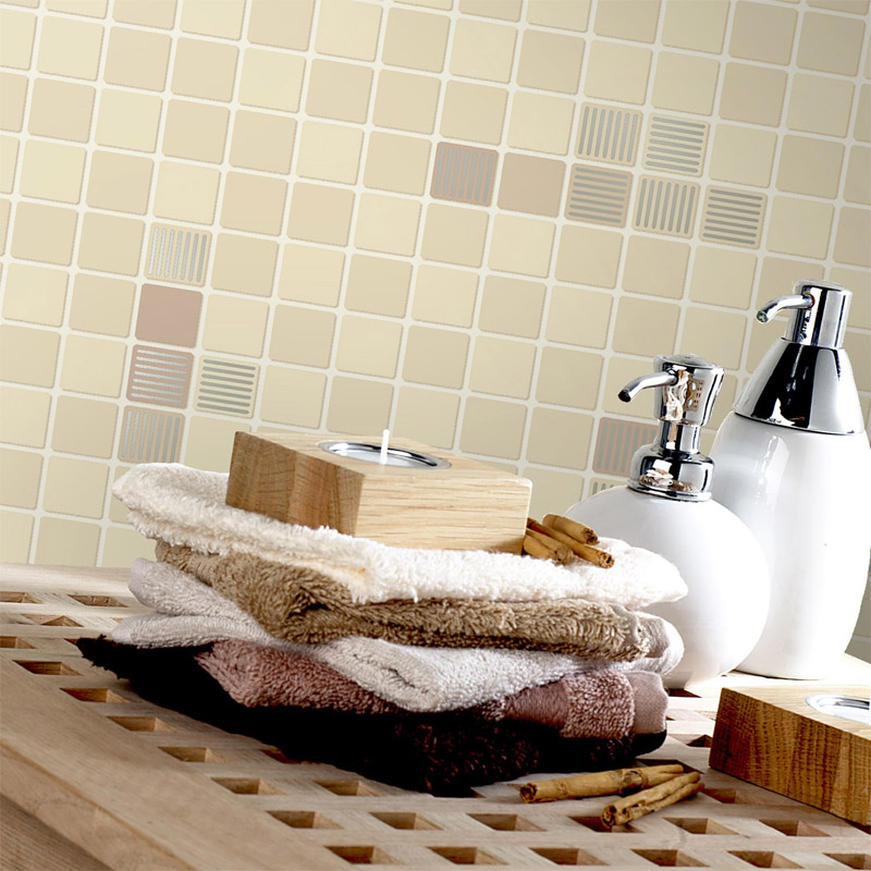 Holden Decor - Matrix Beige Bathroom Wallpaper - 89070 Profile Large Image