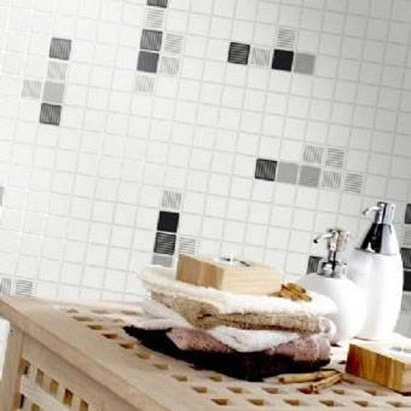 Holden Decor - Matrix Black/White Bathroom Wallpaper - 89071 profile large image view 2