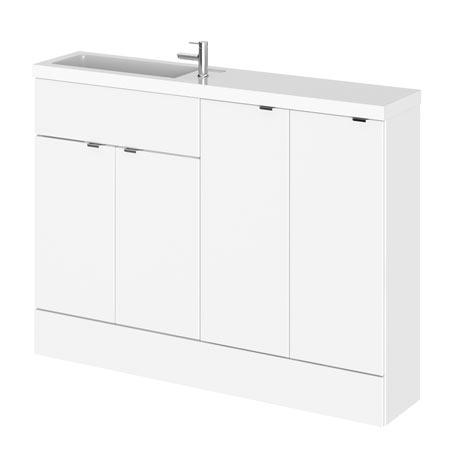 Hudson Reed 1200mm Gloss White Compact Combination Unit (600 Vanity, 300 Base Unit x 2)