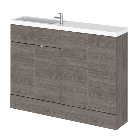 Hudson Reed 1200mm Grey Avola Compact Combination Unit (600 Vanity, 300 Base Unit x 2)