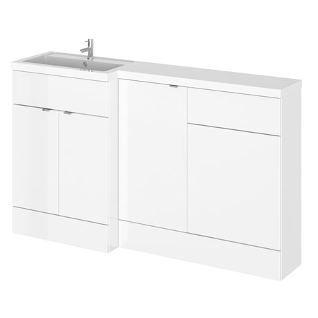 Hudson Reed 1500mm Gloss White Combination Unit (600 Vanity, 400 Base Unit + 500 WC Unit)