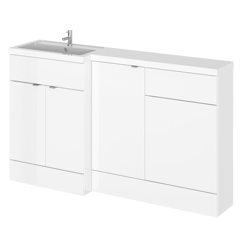 Hudson Reed Fusion 1500mm Gloss White Combination Unit (600 Vanity, 400 Base Unit + 500 WC Unit)