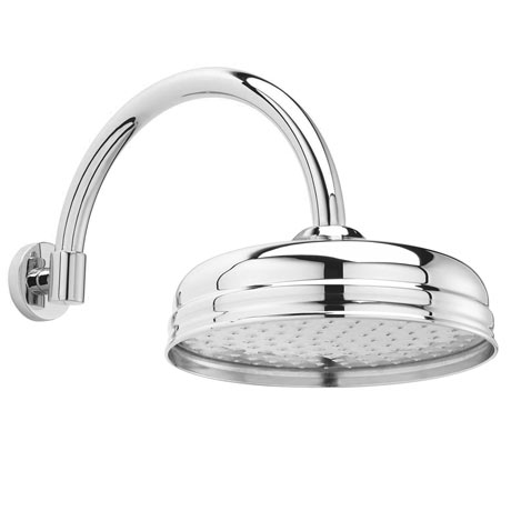 """Hudson Reed 8"""" Apron Fixed Shower Head + Curved Arm"""