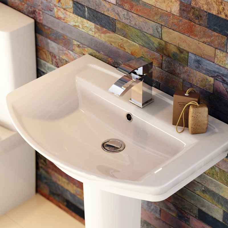 Hudson Reed Alton 4 Piece Bathroom Suite - CC Toilet & 1TH Basin with Semi Pedestal profile large image view 3