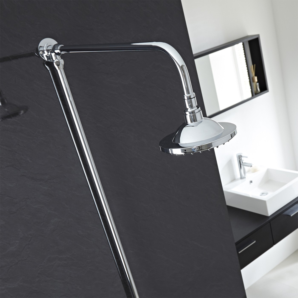 "Hudson Reed Chrome Traditional Rigid Riser + 6"" Shower Rose - A3600 profile large image view 2"