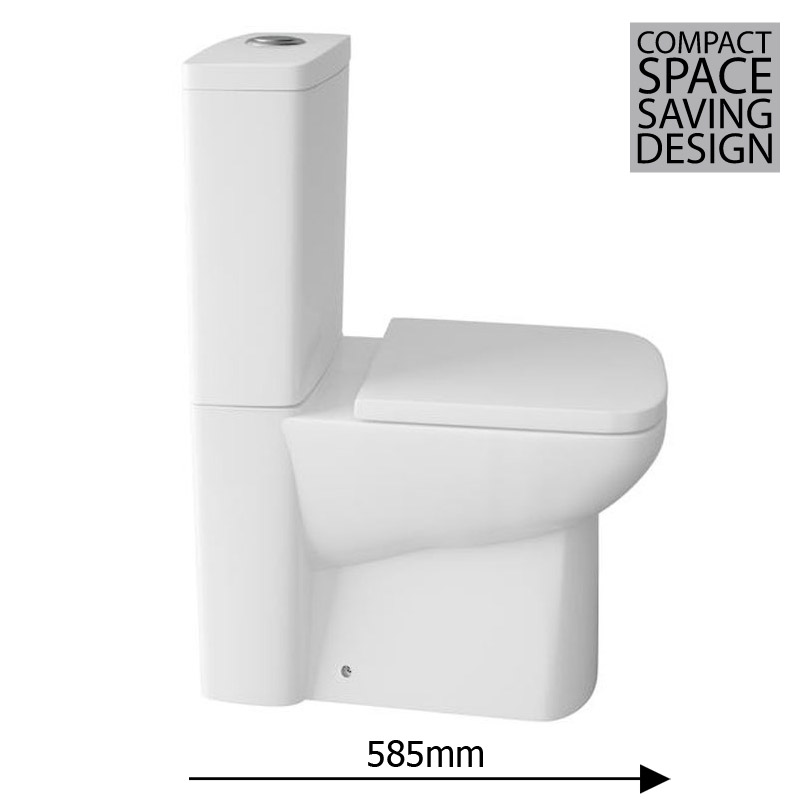 Hudson Reed - Compact Back To Wall Close Coupled Toilet with Top Fix Soft Close Seat - CPC002 Profile Large Image