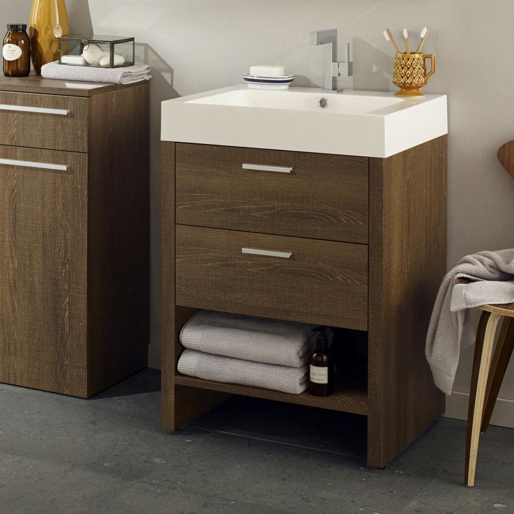hudson reed dunbar textured oak basin cabinet victorian plumbing. Black Bedroom Furniture Sets. Home Design Ideas