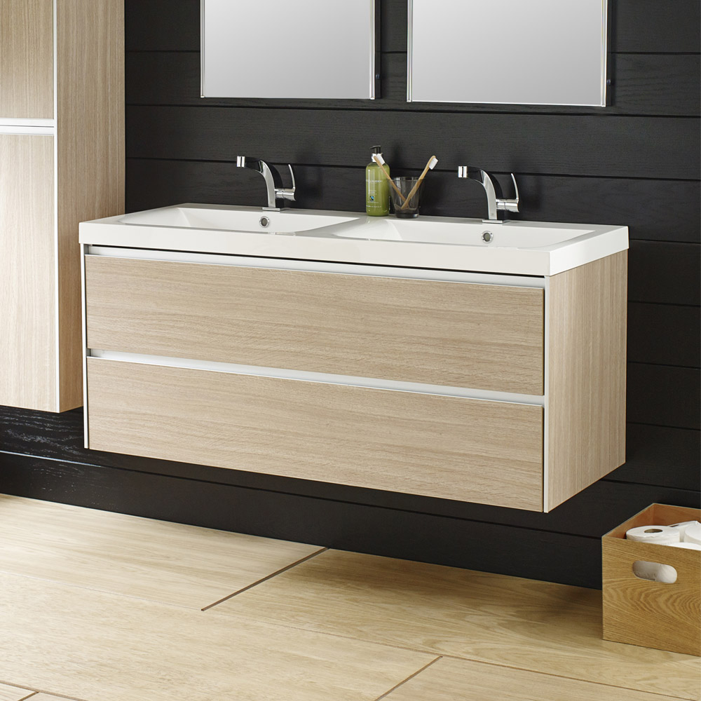 Hudson Reed - Erin Light Oak Double Basin & Cabinet W1200 x D480mm - FEN002 Profile Large Image