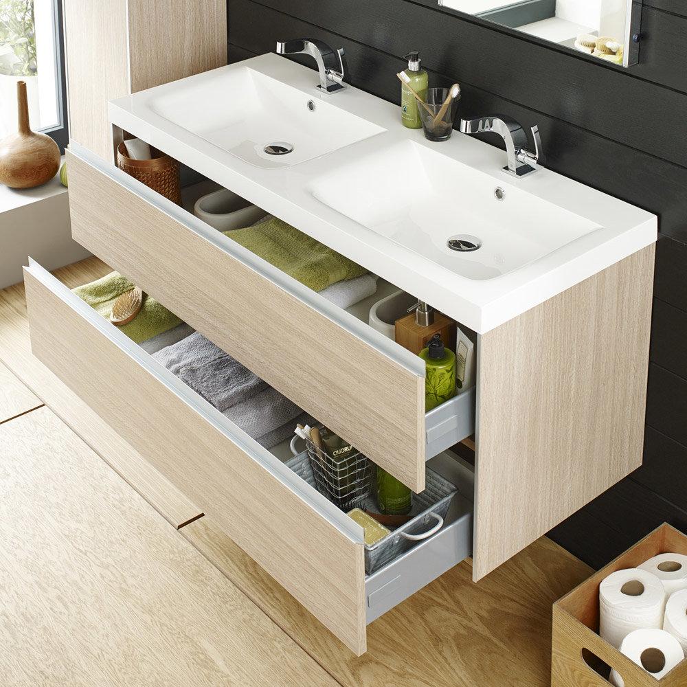 Hudson Reed - Erin Light Oak Double Basin & Cabinet W1200 x D480mm - FEN002 Feature Large Image