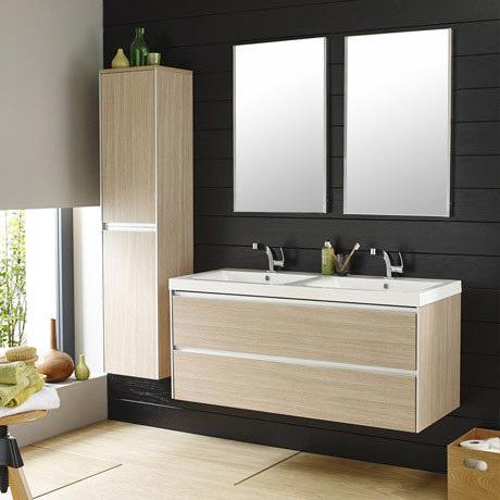 Hudson Reed - Erin 1200mm Light Oak Double Basin Furniture Pack - FEN006