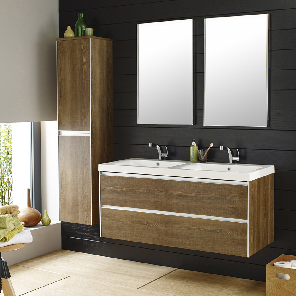 Hudson Reed - Erin 1200mm Textured Oak Double Basin Furniture Pack - FEN008 Large Image