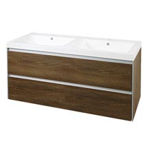 Hudson Reed - Erin Textured Oak Double Basin & Cabinet W1200 x D480mm - FEN004 Medium Image