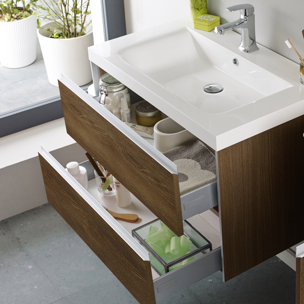 Hudson Reed - Erin Textured Oak Basin & Cabinet W800 x D480mm - FEN003 Profile Large Image