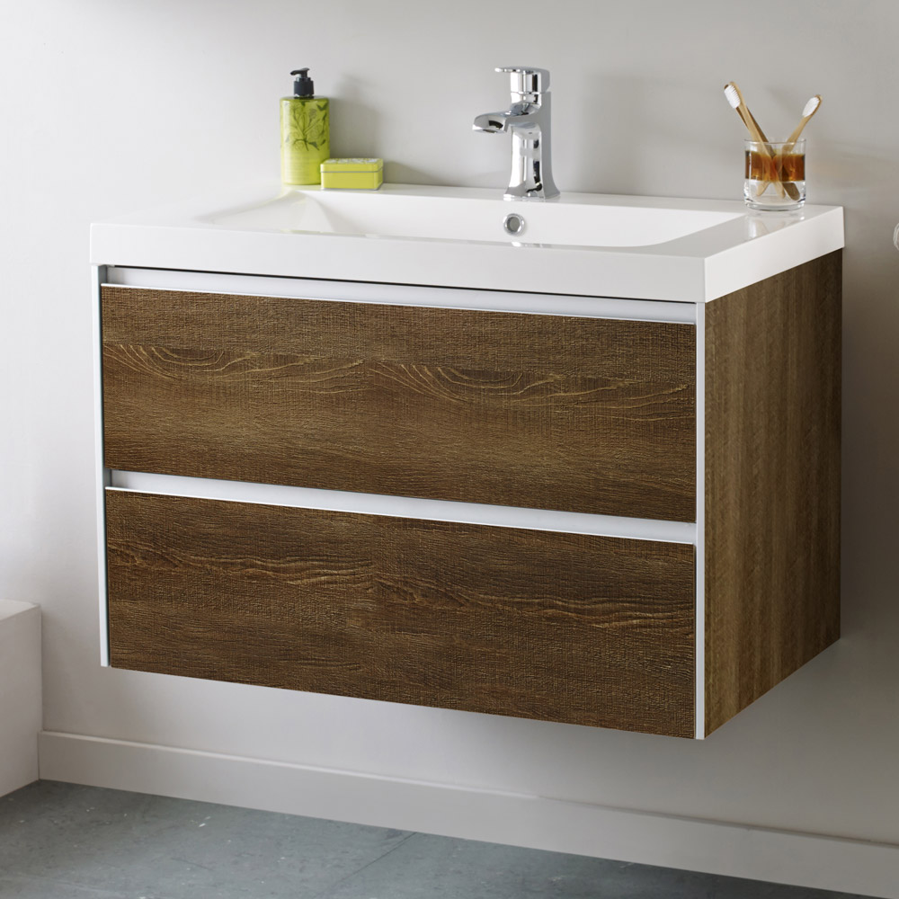 Hudson Reed - Erin Textured Oak Basin & Cabinet W800 x D480mm - FEN003 Feature Large Image