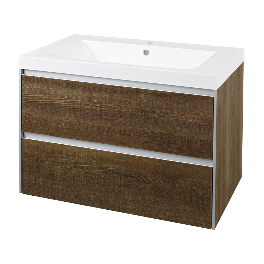 Hudson Reed - Erin Textured Oak Basin & Cabinet W800 x D480mm - FEN003 Large Image
