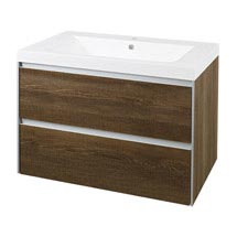 Hudson Reed - Erin Textured Oak Basin & Cabinet W800 x D480mm - FEN003 Medium Image