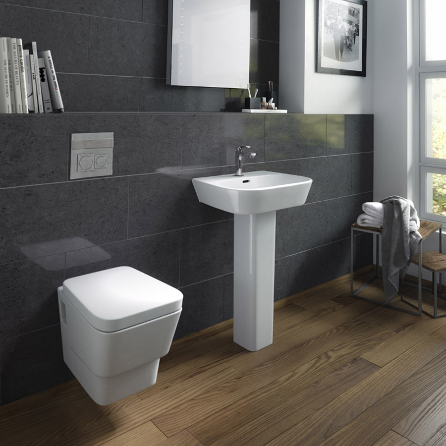 Hudson Reed - Farnham 4 Piece Wall Hung Bathroom Suite - Wall hung toilet & 1TH Basin with Pedestal Large Image