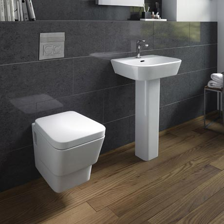 Hudson Reed - Farnham 4 Piece Wall Hung Bathroom Suite - Wall hung toilet & 1TH Basin with Pedestal