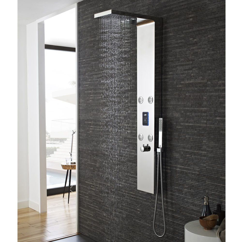 Hudson Reed - Genie LED Thermostatic Shower Panel - Chrome - AS361 Standard Large Image