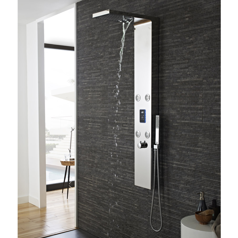 Hudson Reed - Genie LED Thermostatic Shower Panel - Chrome - AS361 In Bathroom Large Image