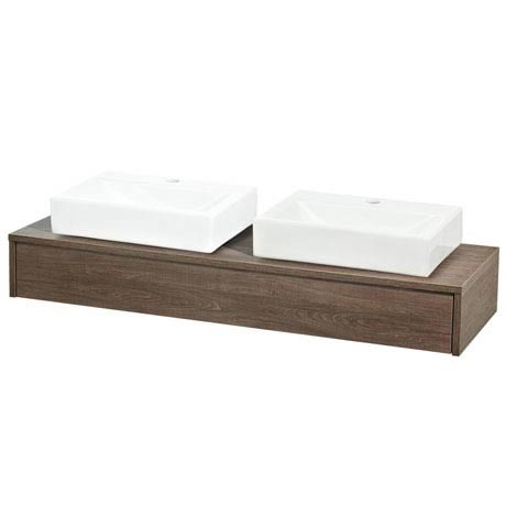 Hudson Reed Horizon 1200mm 1 Drawer Wall Mounted Unit + Basins (Mid Sawn Oak)
