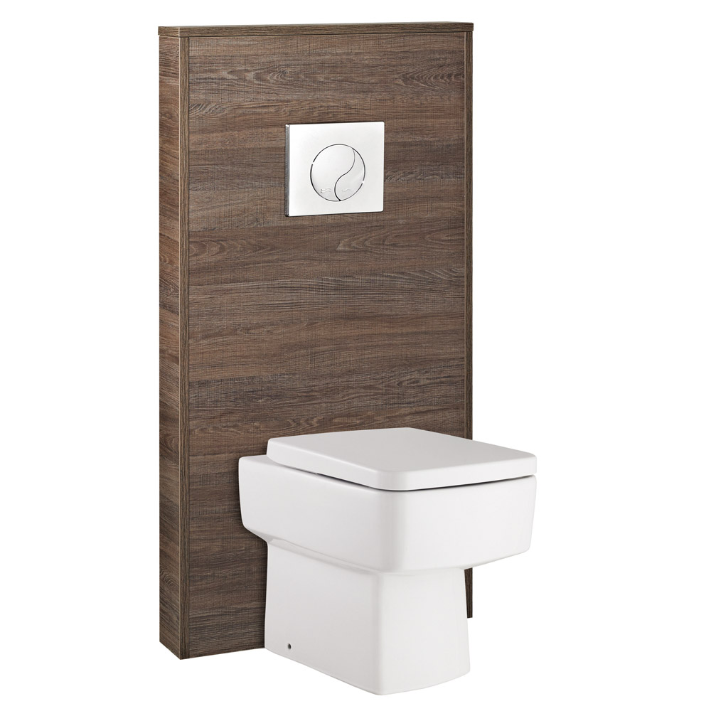 Hudson Reed - Horizon 600mm Slimline Back to Wall WC Unit with Cistern & Pan - Mid Sawn Oak Large Image