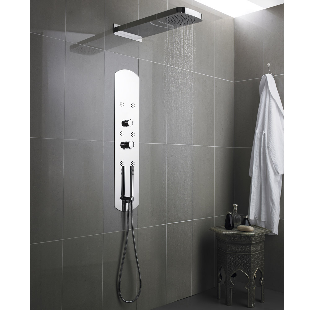 Hudson Reed - Interval Recessed Thermostatic Shower Panel - Chrome - PIN003 profile large image view 2