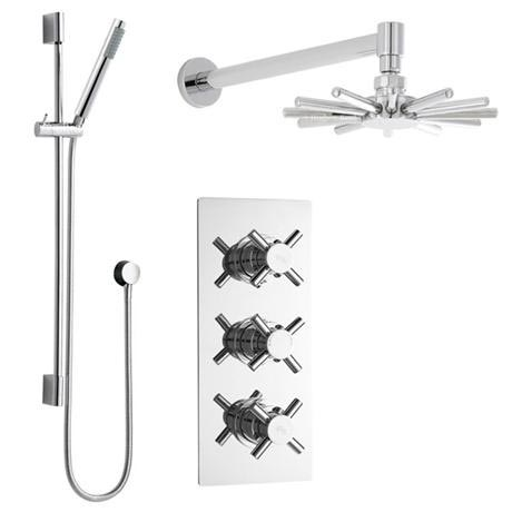 Hudson Reed - Kristal Triple Shower Valve with Cloudburst Fixed Head & Slider Rail Kit