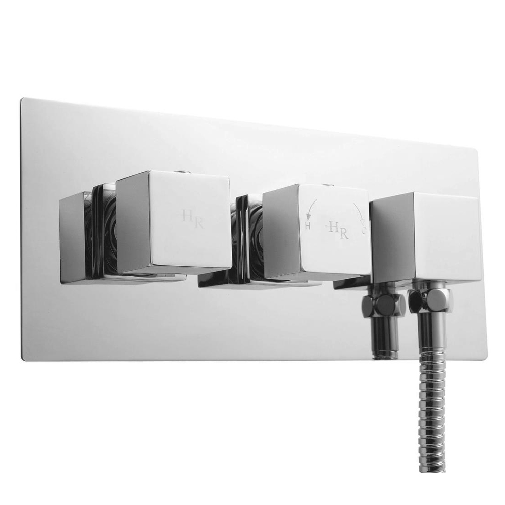 Hudson Reed Kubix Twin Concealed Thermostatic Shower Valve with Built-In Outlet - A3063 Large Image