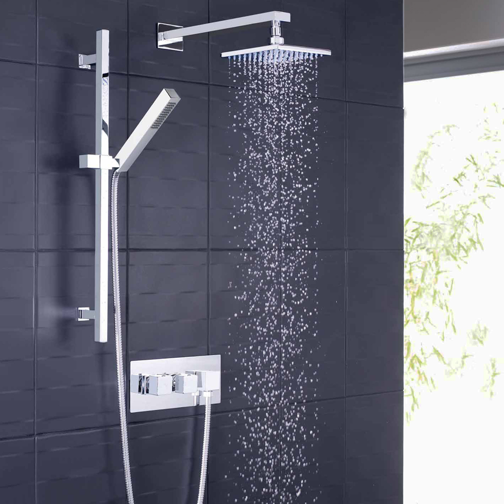 Hudson Reed Kubix Twin Concealed Thermostatic Shower Valve with Diverter & Outlet - A3067 profile large image view 2