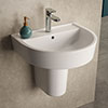 Hudson Reed Luna 1TH Basin + Semi Pedestal (Various Sizes) Small Image